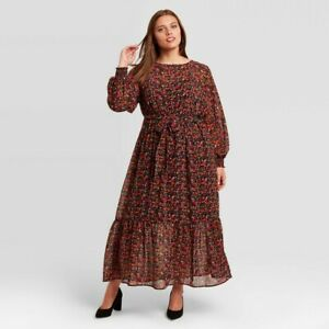 Women's Plus Size Floral Print Long Sleeve Dress - Ava & Viv 2X
