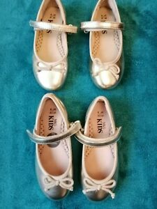 NWT one pair young girls gold M\u0026S shoes