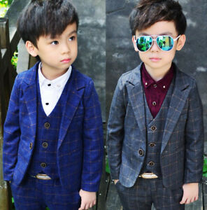 Kids Toddlers Boys Party Check Blazer Suit Jacket Casual Wedding