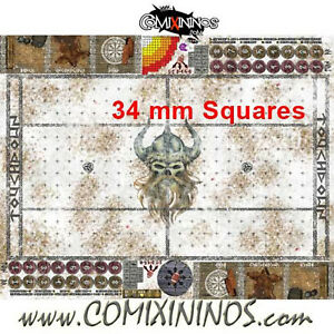 34 mm SKULLS ROLLABLE GAMING MAT for Blood Bowl Fantasy Football Large Size