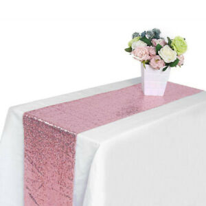 1-5-10pcs-Sequin-Table-Runners-Pink-Glitter-Sparkly-Bling-Table-Cloth-Party-Deco