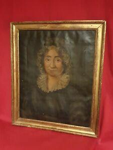 Ancien-portrait-de-femme-huile-sur-toile-fin-XVIII-eme-s-cadre-dore