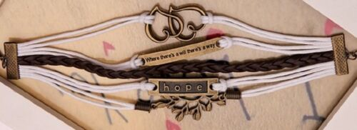 HOPE WRISTBAND WRIST STRAP CHARM BRACELET LEATHER HEART THERE/'S A WAY A58 UNISEX