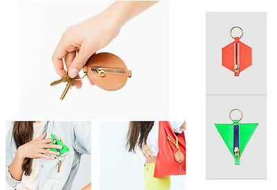 Baggu Leather Shapes Key Chain (Zipper Storage Pocket w/ Key Ring Holder)