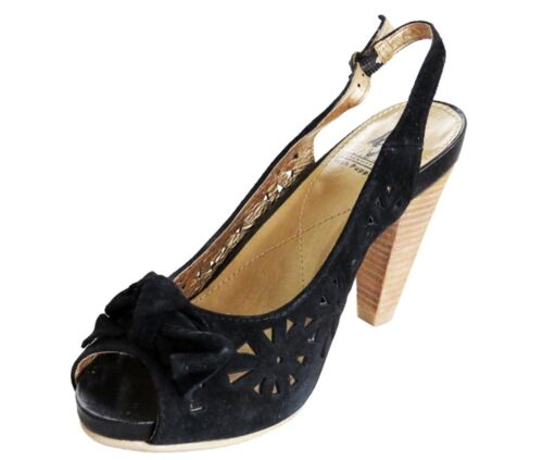 scarpe 60 Rrp Open Toe Womens Suede Ladies Hush Black Tamer Puppies 4 Uk Sandalo £ PqSxfw5qg