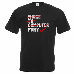Unisex-Black-Phone-TV-Computer-Pony-T-Shirt-Shirt-Checklist-Girls-Horsey