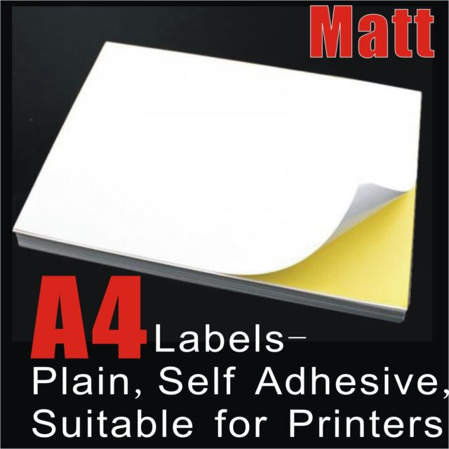 20 x a4 white matte self adhesive sticker paper sheet