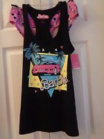 Barbie Corvette 2 Pc Pjs Sleep Set Cami/tank + Panties Black And Pink