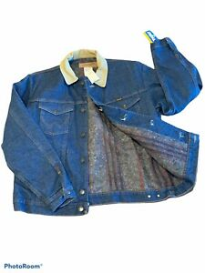 NEW-Wrangler-Men-s-Size-42-Blanket-Lined-Denim-Jacket-Western-Barn-Coat-Trucker