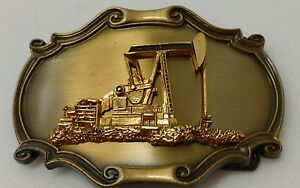 Rain-Tree-Oil-Pump-Belt-Buckle-24K-Gold-Overlay-1978-Vintage
