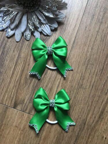Handmade Girls Emerald Green School Hair Bow Bobbles Sold In Pairs School