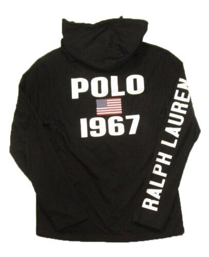 Hommes À shirt Lauren Capuche Graphique Noir Pour Polo Ralph T PZiukX