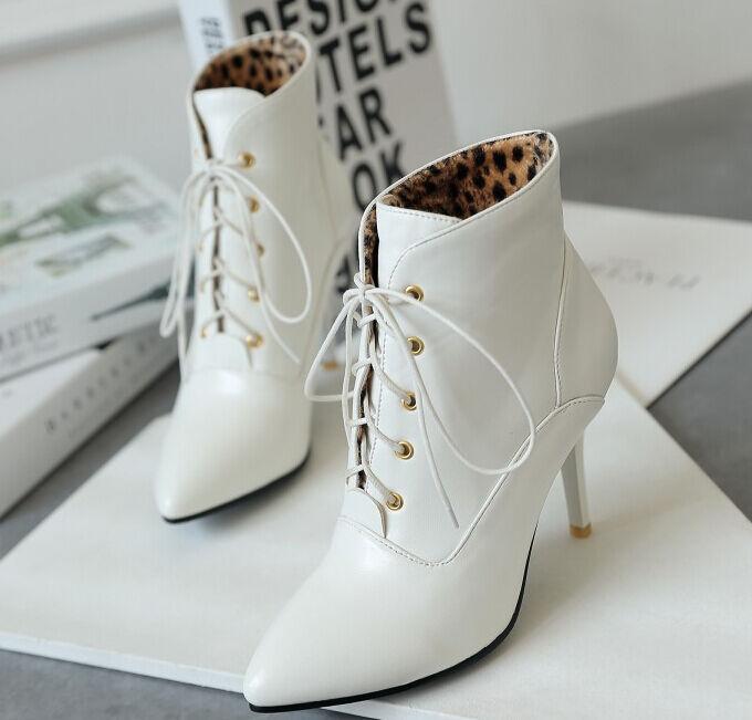 botas tacón de aguja zapatos de cordones tacón mujer 9 blanco cordones de como piel 9412 589bd5
