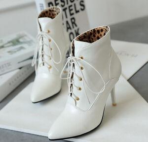 botas tacón de aguja zapatos de tacón mujer 9 blanco cordones como piel 9412