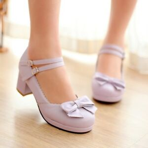 Women-039-s-Sweet-Lolita-Bowknot-Round-Toe-Mary-Jane-Chunky-Block-Heels-Shoes-Size