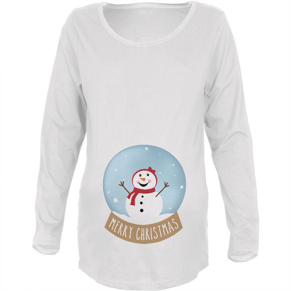Merry Christmas Snow Globe Snowwoman Maternity Soft Long Sleeve T Shirt