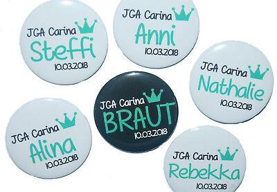 10 x JGA Buttons groß 50mm Junggesellinnenabschied Feier Name Hochzeit Punkte