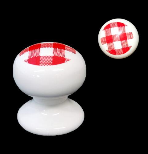 10 X Blanc Armoire Porcelaine Céramique Poignées de porte rouge à carreaux Design