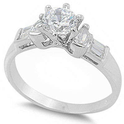 1ct ROUND & BAGUETTE CZ PROMISE ENGAGEMENT .925 Sterling Silver Ring SIZES 5-10
