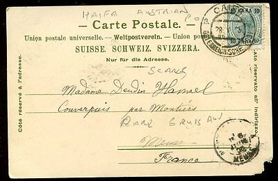 Austria LEVANT Ottoman Empire Post Offices HAIFA pmk Gruss Aus PPC 1905