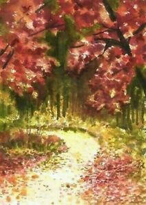 ACEO-Autumn-Fall-Wood-trees-painting-original-landscape-watercolor-art-card