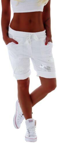 Damen Capri Hose Bermuda Boyfriend Shorts Jogpants Harems Kurz Sommer C126