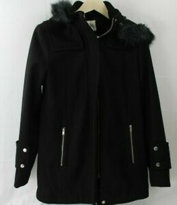 NWT-A-New-Day-Women-039-s-Wool-Duffel-Coat-with-Removable-Fur-Trim-Hood-size-M