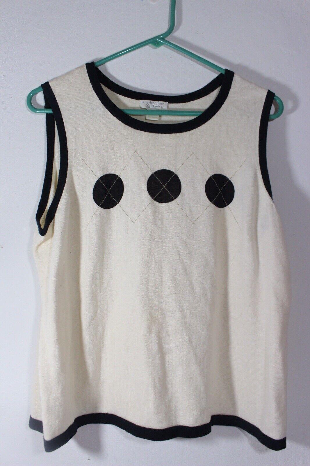Christopher & Banks Womens Cream Sleeveless Shirt… - image 1