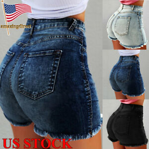 Womens-Denim-Jeans-Ripped-Shorts-Beach-Summer-Hotpants-Skinny-High-Waist-Pants
