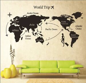 Black world map mural vinyl wall decals sticker home room decor art image is loading black world map mural vinyl wall decals sticker gumiabroncs Choice Image
