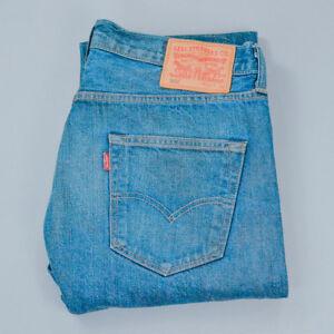 Vintage-Levi-501-Jeans-Straight-Button-Fly-blau-unisex-Patchw-34l36-W-33-L-36