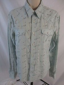 Hollister-Womens-Small-Blue-Floral-Western-Pearl-Snap-Long-Sleeve-Shirt-CB46F