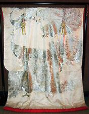 JAPANESE WEDDING KIMONO SILK UCHIKAKE WALL HANGING ART DECOR Silver Peacock