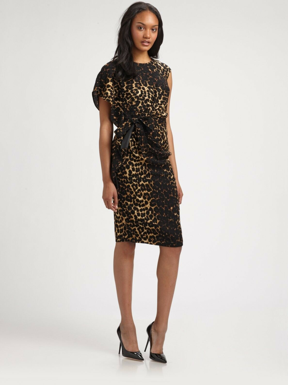 NWT Lafayette 148 Talulah in Leopard Print Wool Belted Sheath Dress 6