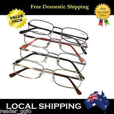 4 Pairs G&G Men's Reading Glasses Gold/Silver/Black +1.0~+4.0 Mixed color ONLY