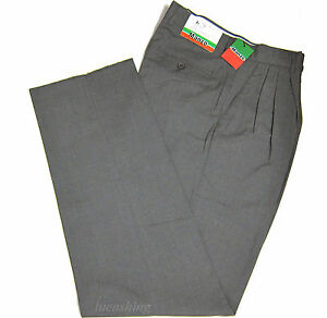 New-Men-039-s-Dress-Pants-Slacks-Formal-Work-Uniform-Prom-Wedding-Pleated-Gray