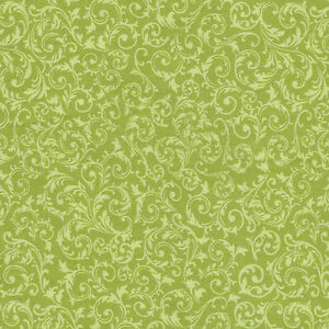 Half Metre Quilting Fabric ~ Long Live Vintage ~ Curly Motif ~ Green