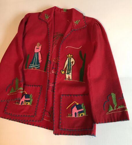 Vintage 1940's Souvenir Mexican Red Wool Embroider