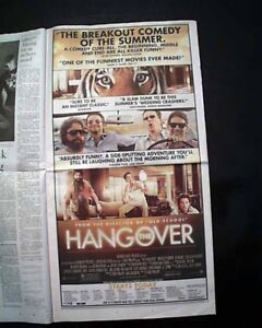 Best THE HANGOVER Film Movie Opening Day AD & Review 2009 Los Angeles Newspaper