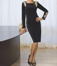 Women's Fall Winter Cocktail evening Velour Gold Appliqué Black Dress plus 2X
