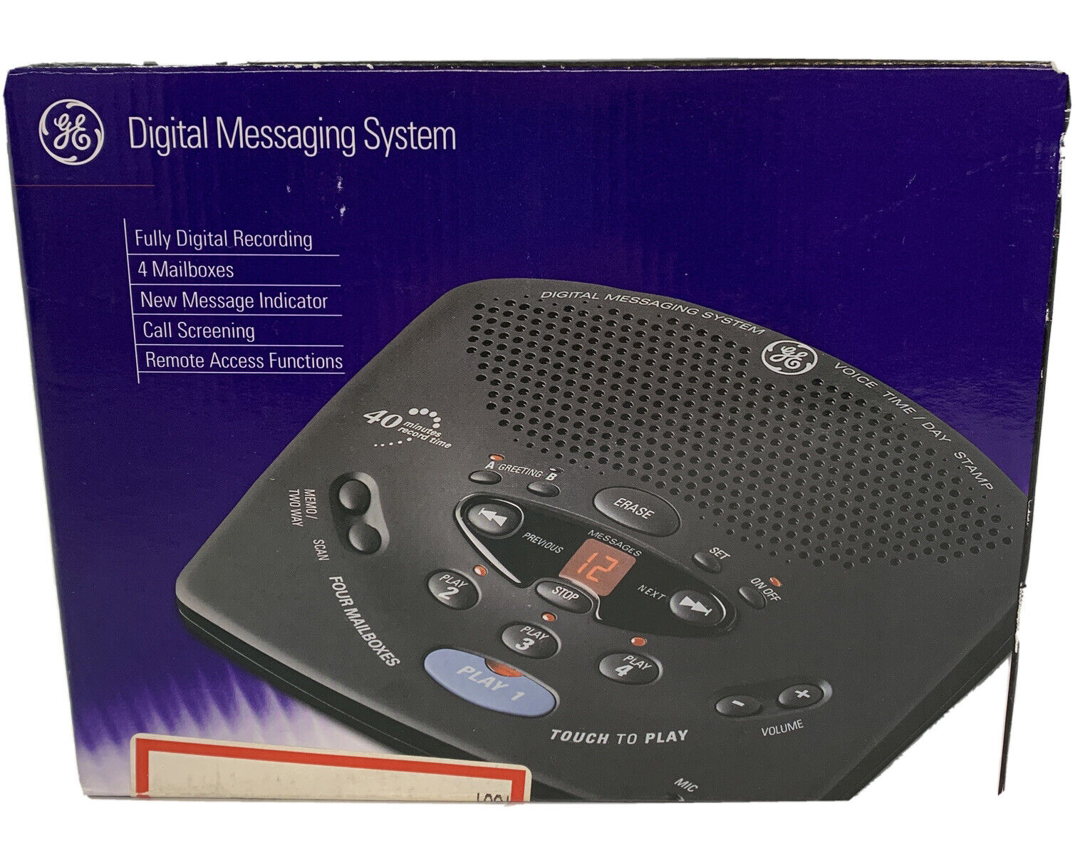 GE 29875GE2 Digital Messaging System with Voice Time and Day Stamp Renewed Black