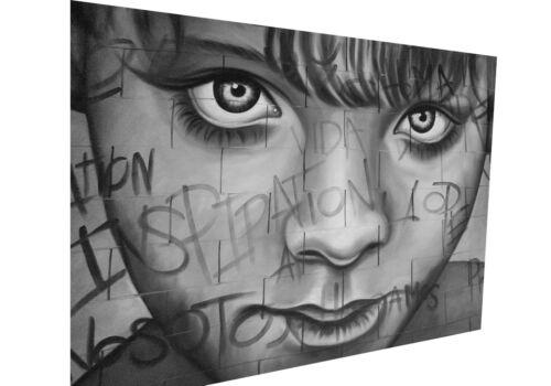 Graffiti Street Art Boy Face Banksy Wall Decor Print Large Canvas Painting