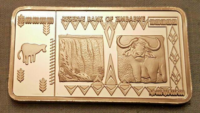 100 Trillion Dollar Zimbabwe Silver Bar Ingot Bank Note Money African Unusual UK