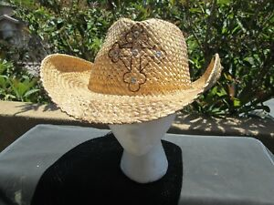 BNWT-Peter-Grimm-Crystal-Cross-Cowboys-Cowgirls-Drifters-Natural-Straw-Hats-O-S