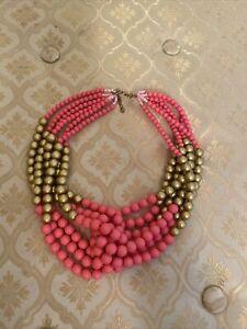 Pink /& Gold Seed Bead Choker