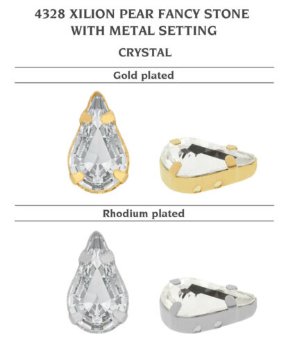 Genuine SWAROVSKI 4328 Pear Crystals with Sew On Metal Settings Many Colors