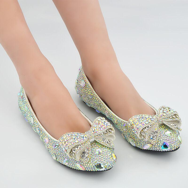 WOmen's FLats Bridal Wedding Rhinesotne Pointed toe Slip On Loafers Boat shoes