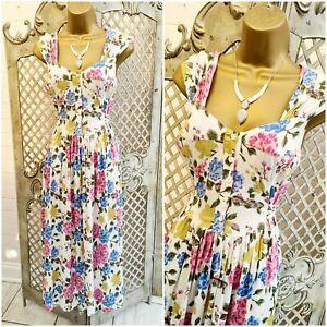 VINTAGE 80s UK 12 Pretty Floral Fit & Flare Tea Day Sun Midi Dress Retro Summer
