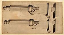 Schraubzwingen altes Schreinerwerkzeug Orig Aquarel um 1830 carpenter tools