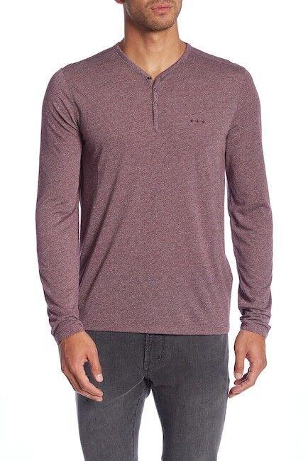 John Varvatos Star U.S.A. Men's Garnet Red Heathered L S Henley Shirt K3981U3B